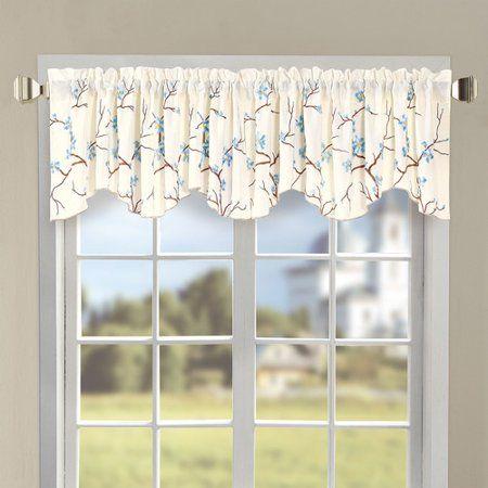 Serenta Cherry Blossom Embroidered 60 Curtain Valance Walmart Com Valance Curtains Curtains Valance