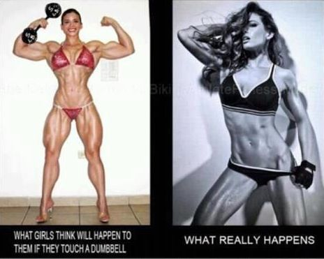 """Women do NOT have the levels of testosterone necessary to """"bulk up"""" the way men do. LIFT WEIGHTS if you want to be """"tone"""" """"lean"""" or """"muscular"""". Spending hours on the cardio will NOT """"tone"""" you…  Just like picking up a heavy dumbbell will NOT make you blow up the next day like Arnold Schwarzenegger. It takes YEARS to develop bodybuilder-size muscle and that is with intense, consistent training, diet, steroids oftentimes and an extreme lifestyle commitment!"""