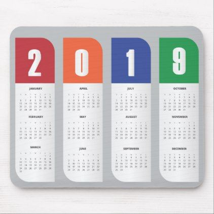 Trendy Calendar 2019 Mousepad Zazzle Com Calendar Design Template Calendar Design Calendar Template