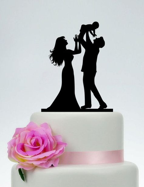 Couple Wedding Cake Topper with Child,Family Cake Topper with dog,Family Wedding Cake Topper,Couple with Child Cake Topper,Dog Topper 4090