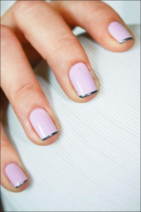 Subtle french tips featuring metallic polish! #manicure #nailart