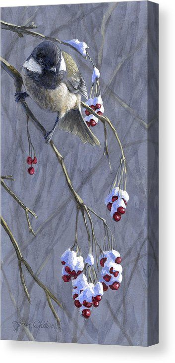 Winter Harvest 1 Chickadee Painting By K Whitworth Bird Art Christmas Paintings Winter Painting