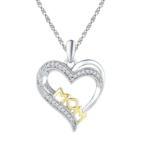 """1/10 CT. T.W. Round Diamond Prong Set Mom Heart Pendant in Sterling Silver with Yellow Plating  (18"""")"""