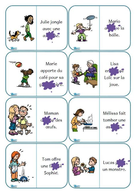 Dominos de lecture de phrases - mots masqués