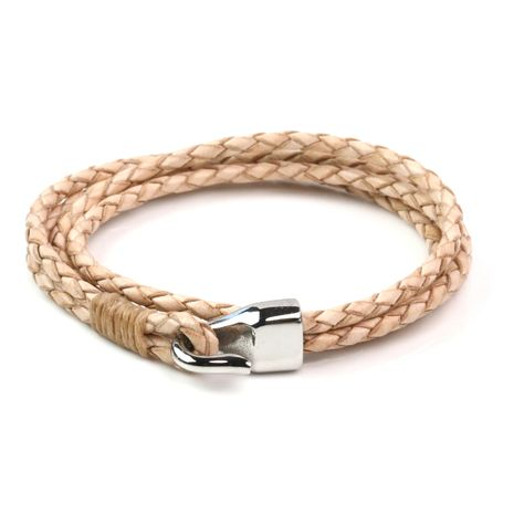 Leather Double Braided Hook Bracelet - Natural