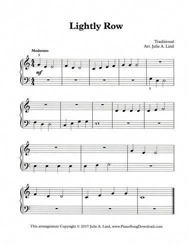 Lightly Row Easy Pdf Printable Piano Sheet Music For Beginning