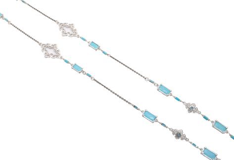 "Sterling Silver Open Scroll Necklace with Turquoise/White Quartz Doublets, Sleeping Beauty Turquoise Baguettes and Swiss Blue Topaz Enhanced Scrolls. Adjustable at 36"" and 38"""