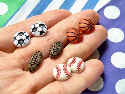 Sports Fan Jewellery Football Earrings Soccer Rugby Basketball Baseball Jewelry Gift For Her Baseball Jewelry Gifts For Her Gifts