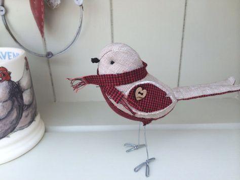 Handmade fabric robin bird model by diosman on Etsy, £15.00
