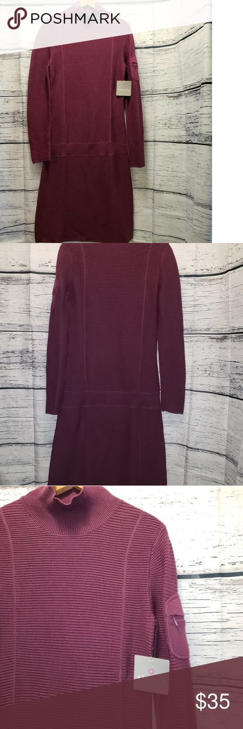 Athleta Riverhead Purple Dress Athleta Purple Riverhead Ribbed Sweater Dress features functional zippered pocket on left sleeve and mock turtleneck Organic Cotton/Wool   ▪️Size Medium  Measurements flat pit to pit: 16
