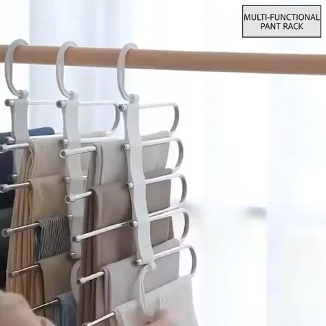 No need to iron your clothes!!! Always keep your clothes tidy!!! Stylish and Durable: Our metallic Pants Rack is durable, rustproof, and stylish.