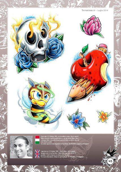 Tattoo Flash Collection Vol 00 03 Badass Art Color Pencil Art New School Tattoo