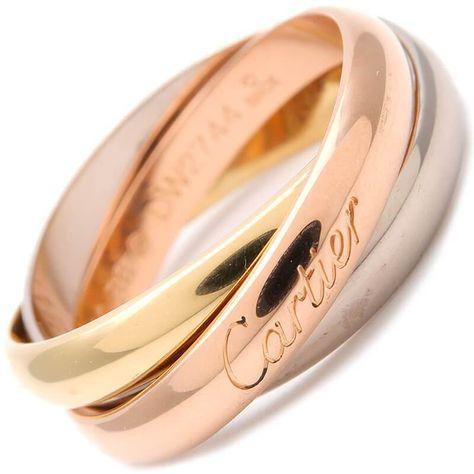 6ac85764e3d6a Authentic Cartier Trinity Ring K18 750 YG/WG/PG #55 US7.5 HK17 EU56 Used F/S