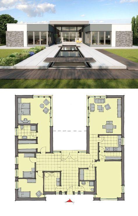 Bungalow House Design Modern European Contemporary Architecture With Pool Terrace Patio Home Plan Cote D Azur Layout By Gussek Haus Dream H Mit Bildern Haus Bungalow