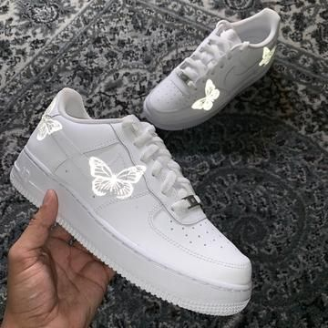 Custom Limited 3m Reflective Butterfly Af1 S In 2020 Nike Shoes Air Force Nike Air Shoes Girls Shoes