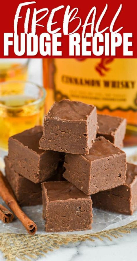 This easy Fireball Fudge Recipe is the perfect recipe to make for the holidays or anytime! An easy fudge recipe made with condensed milk and a few other ingredients that is perfect for the cinnamon whiskey lover in your life!