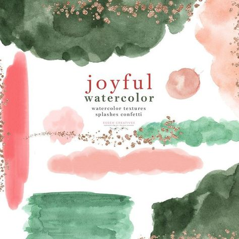 Watercolor Splash Brush Strokes Clipart, Abstract Christmas Holiday