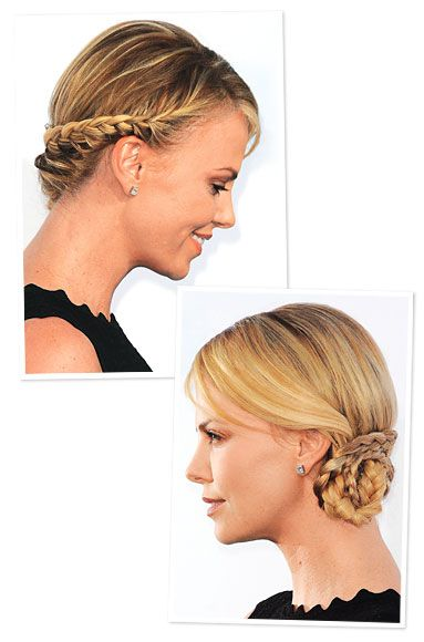 Start a French braid just above your ear, then bring it around your head before coiling it into a low bun.