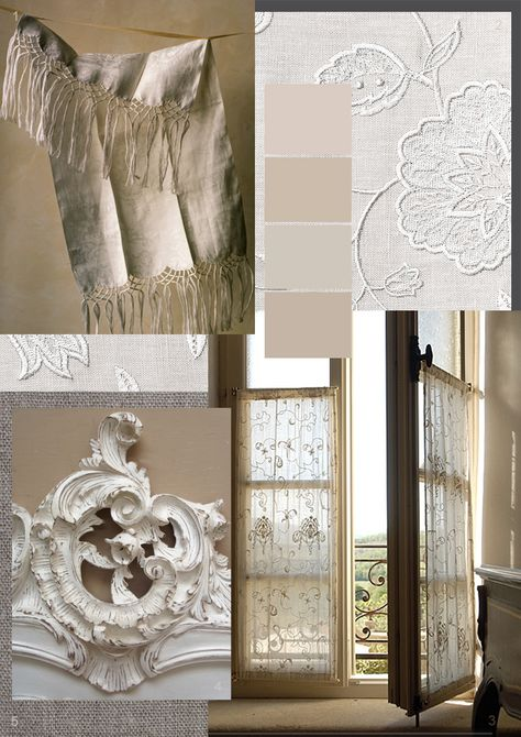 French linen, lace curtains and rococo mirrors - divine!