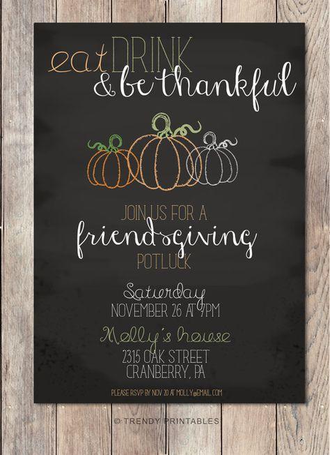 Potluck Invitation Friendsgiving Thanksgiving by TrendyPrintables