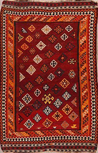 Vintage Traditional Geometric Red Reversible Kilim Qashqai Area Rug Oriental Hand Woven Wool Carpet 6x8 5 6 X 8 In 2020 Persian Area Rugs Wool Carpet Oriental Rug