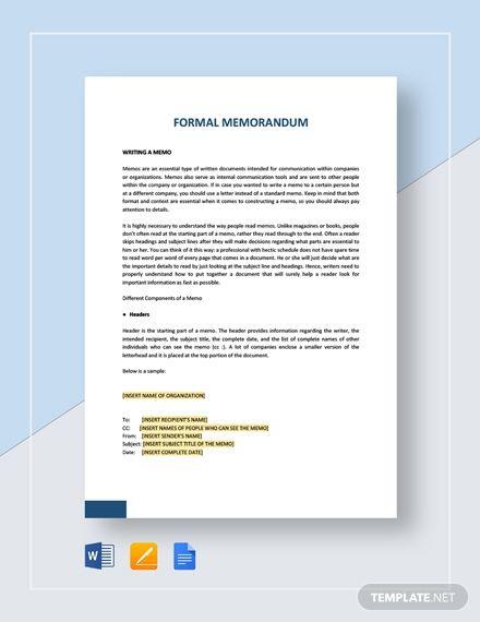 Sample Formal Memorandum Template Free Pdf Google Docs Word Apple Pages Template Net Memo Template Formal Business Letter Memo Examples