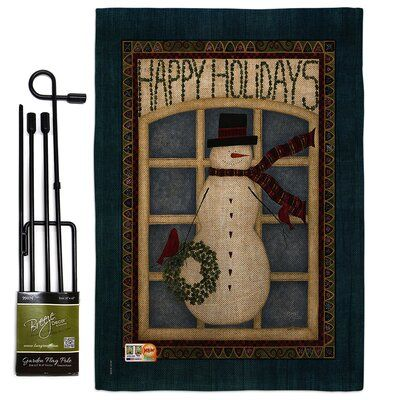 Breeze Decor Happy Holidays Snowman Winter Wonderland Impressions 2 Sided Polyester 19 X 13 In Flag Set Wayfair In 2020 Holiday Snowmen Breeze Decor Christmas Flag