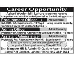 Askari Woolen Mill Lahore Jobs 2019 Apply Now Please Job Ads