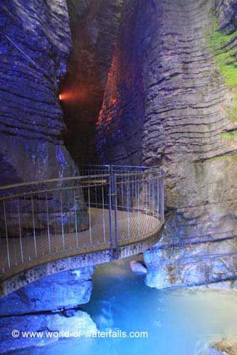 The floodlit entrance to the so-called lower cave Riva del Garda / Trento, Trentino, Italy