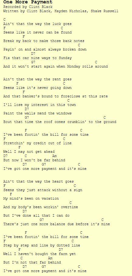 One More Payment Clint Black Chords Lyrics Ukulele Pinterest