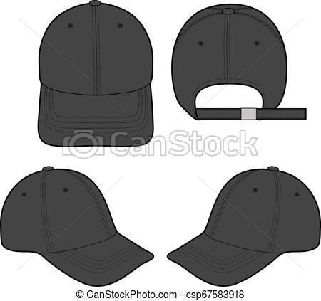 Baseball Cap Fashion Flat Sketch Template Vector Stock Illustration Royalty Free Illustrations Stock Clip Art Icon S