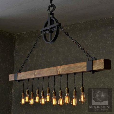 The Dunsmuir - Rustic Farmhouse Wooden Beam Chandelier