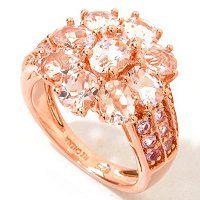 Morganite, Pink Sapphire and Diamond Flower Ring