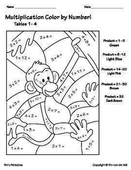 Multiplication Color By Number Worksheets Multiplication Worksheets Multiplication Math Coloring Worksheets