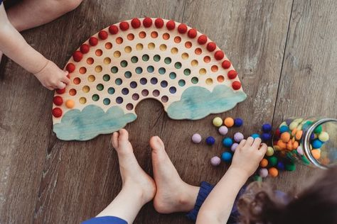 Montessori Toys- Color sorting toy - rainbow colors - color matching game - wooden rainbow - sorting tray - Montessori classroom : Montessori Toys- Color sorting toy - rainbow colors - color matching g – MirusToys Diy Montessori Toys, Montessori Classroom, Montessori Toddler, Montessori Color, Montessori Bedroom, Toddler Toys, Wooden Rainbow, Matching Games, Wood Toys
