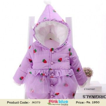 5cf3c78c8 Cute Padded Winter Jacket with Hood in Strawberry Print for Baby ...