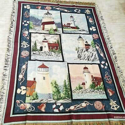 Details About Goodwin Weavers Lighthouses Tapestry Throw Blanket