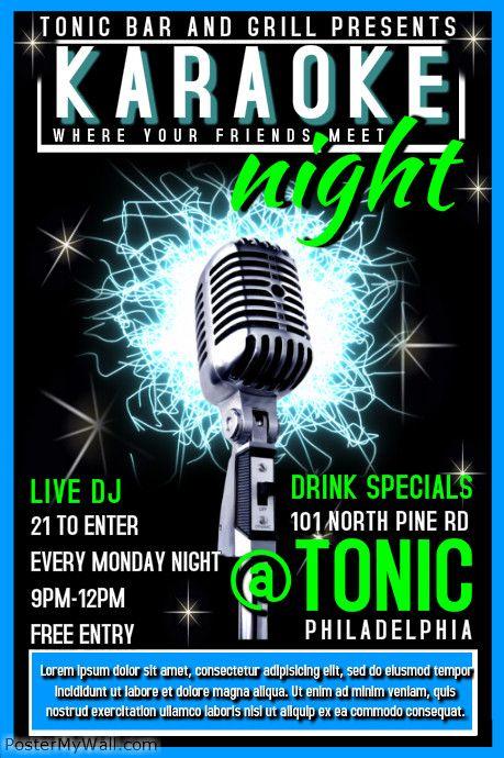 PosterMyWall Karaoke Posters Things Pinterest Karaoke and - karaoke night flyer template