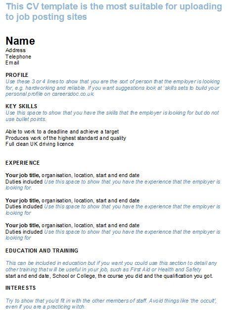Cv Template Job Centre Cv Template Templates Job Posting Sites