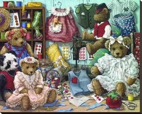 5D Diamond Painting Stuffed Bears and Birdhouses Kit