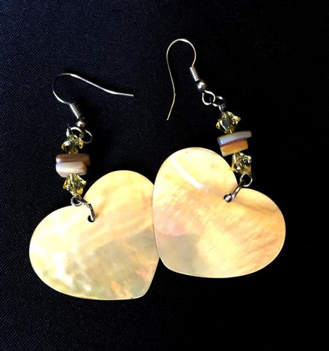 Mother Of Pearl Drop Earrings Dangle Heart Shaped Handmade Natural