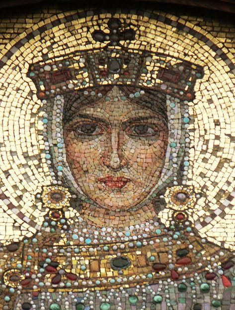 A mosaic depicting Saint Eudoxia (Byzantine Empress in the Alexander Nevsky Cathedral, Sofia, Bulgaria. Byzantine, for
