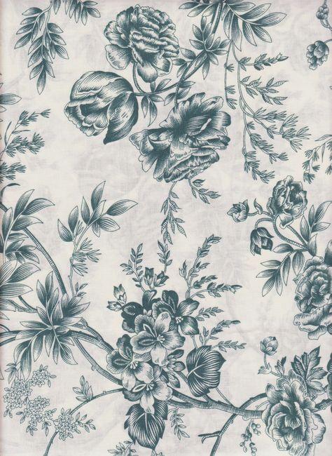 Blue Floral Fabric 100% Cotton. $4.80, via Etsy.
