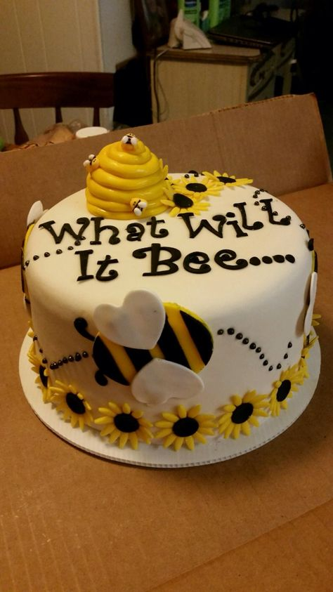 What will it Bee??? Gender reveal cake covered in buttercream icing with fondant decorations. Baby shower