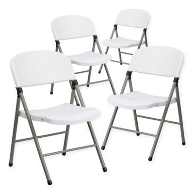 Flash Furniture Plastic Folding Chairs In Grey White Set Of 4