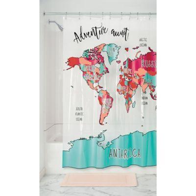 Travel Map Peva Shower Curtain In Magenta Teal Kids Shower