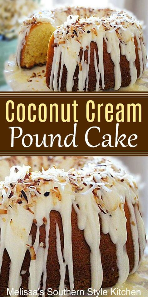 Made-from-scratch Coconut Cream Pound Cake With A Vanilla Cream Glaze coconutcake coconutpoundcake southernfood southernrecipes coconutdesserts easter easterdesserts holidayrecipes cakes cakerecipes melissassouthernstylekitchen Coconut Pound Cakes, Coconut Desserts, Coconut Recipes, Just Desserts, Baking Recipes, Coconut Cupcakes, Health Desserts, Homemade Cake Recipes, Best Cake Recipes