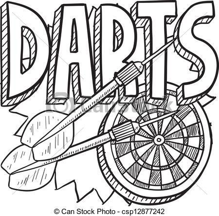 Dart Clip Art Vector Darts Sketch Stock Illustration Royalty Free Illustrations Dartpfeile Tasse Gestalten Zeichnung