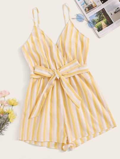 772b92ff2d Surplice Neck Striped Belted Cami Romper | Various BOTTOMS|Skirts ...