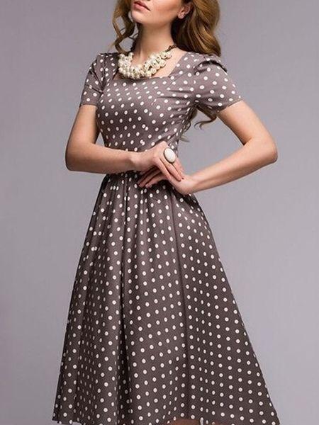 Buy Square Neck Polka Dot Vintage Skater-dress online with cheap ...